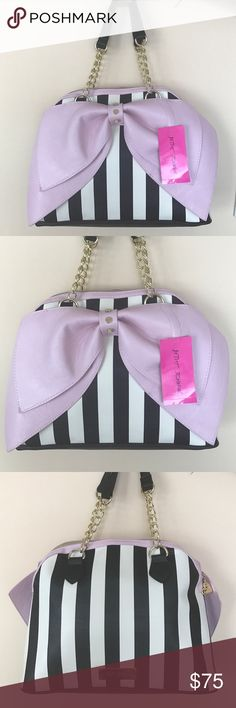 "Betsey Johnson satchel Handbag Brand new very cute Dome striped black & off white shaped bag with big pink bow . Top zip closure . Inside has one zip pocket and 2 slip pockets. Height about 11"" and bottom width is about 13.5"" . Betsey Johnson Bags Satchels"