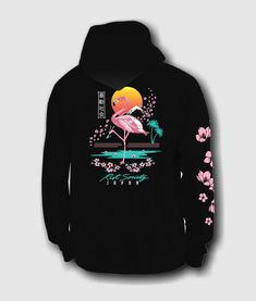 Riot Society Flamingo Blossom Mens Hoodie - Black, X-Large Hoodie Outfit, Sweater Hoodie, Stylish Hoodies, Cool Hoodies, Hoodies For Girls, Aesthetic Hoodie, Aesthetic Clothes, Vaporwave Fashion, Vaporwave Clothing