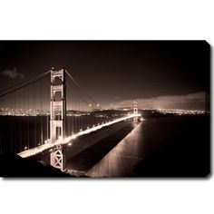 Maybe in the master bedroom 'Golden Gate Bridge at Night' Canvas Art