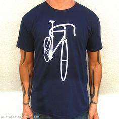 ONE Gear Clothing - Ride me, premium t-shirt in navy.Ride Me: Navy Blue Clean lines, elegant drop-bars... when I see this track bike all I want to do is ride it! Navy and white. This shirt is GREAT out at the bar when someone approaches you from behind