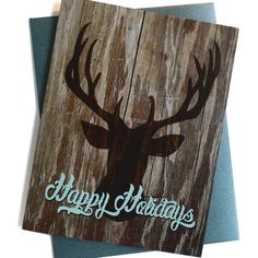 Christmas Cards / Holiday cards - Set of 8 - Deer Head Happy Holidays Typography…