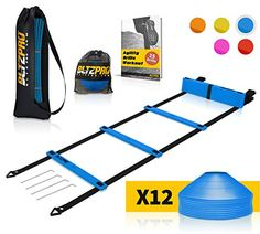 Discounted Bltzpro Football and Soccer Training Equipment - Cones & Agility Ladder Speed Practice kit for Kids and Coaches - Conditioning and Footwork Workout Gear - Includes 2 Bags & 24 Agility Drills eBook Soccer Pro, Soccer Coaching, Soccer Fans, Tennis Gifts, Soccer Gifts, Sports Gifts, Speed Training, Sports Training, Training Equipment