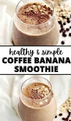 This healthy coffee banana smoothie recipe is vegan, gluten-free, and dairy-free! An easy breakfast on-the-go that's packed with oats, chia seeds, coffee, and more good-for-you ingredients that are sure to keep you full and satisfied. #smoothie #coffeesmoothie