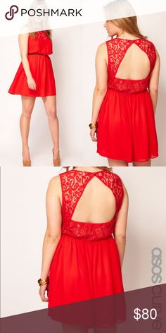ASOS CURVE Red Skater Dress With Lace Open Back Stunning red dress with a Lace open back size US 20. Used once for an event. It does have a little spot in the front might need to be cleaned. Includes only the dress. ASOS Curve Dresses Backless