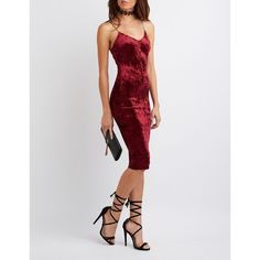 Charlotte Russe Velvet Bodycon Midi Dress ($29) ❤ liked on Polyvore featuring dresses, burgundy, strappy dress, strappy bodycon dress, v neck dress, velvet dress and charlotte russe dresses