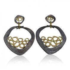 Open Pebble Mesh Earrings by Rona Fisher. Mixed metal dangling earrings handmade…