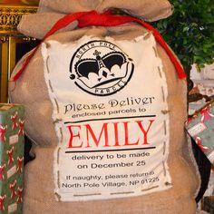 GroopDealz | Personalized Burlap Santa Bag