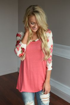 Ivory Sleeve Floral Top – The Pulse Boutique