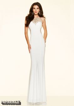Wedding Dresses, Bridesmaid Dresses, Prom Dresses and Bridal Dresses Mori Lee Paparazzi - Style 98071 - Mori Lee Paparazzi, Beaded Jersey floor length sheath with Zipper Back Closure. Shrug For Dresses, Beautiful Prom Dresses, Gorgeous Dress, Satin Gown, Prom Dresses Online, Dress Online, Popular Dresses, Groom Dress, Formal Gowns