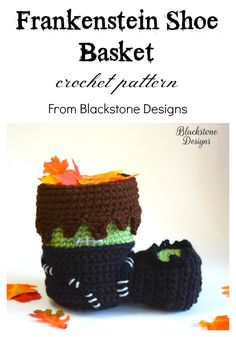 Fun crochet basket that looks like Frankenstein's shoe! Crochet pattern from Blackstone Designs available on: Ravelry Etsy Craftsy LoveCrochet #crochet #crochetpattern #Halloween #Frankenstein