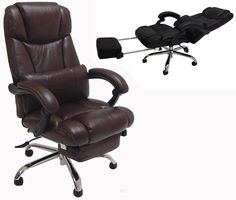 Leather Reclining Office Chair w/ Footrest in Black or Brown - Our unique leather reclining chair is not only a comfortable office chair, but quickly converts into a nap chair. Cheap Office Chairs, Best Office Chair, Executive Office Chairs, Reclining Office Chair, Leather Recliner Chair, Leather Chairs, Chair Drawing, Comfortable Office Chair, Luxury Chairs