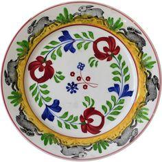 Antique Rabbit Ware Stick Spatter Plate