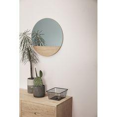 Hubsch Small Sideboard in Solid Oak Copper Mirror, Round Wall Mirror, Round Mirrors, Decor Interior Design, Furniture Design, Interior Decorating, Spiegel Design, Small Sideboard, Standing Mirror