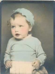 ** Vintage Photo Booth Picture **   Sweet baby girl, hand tinted in blue