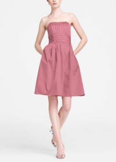 David's Bridal - Cotton Sateen Short Strapless Rushed (sytle 83312) In Rose Petal