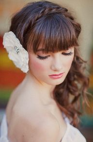 Wedding hair side do with bangs - I really love everything about this do! Will have to try this on myself one of these days