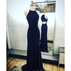Navy Blue Sheath Halter Prom Dresses Sweep Train with Split-Side,Open Back Prom…