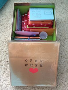 Open when letters box with small presents. Very cute idea for birthday or anniversary.