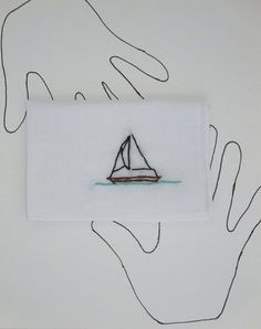 Hand Embroidered Sailboat Handkerchief by wrenbirdarts