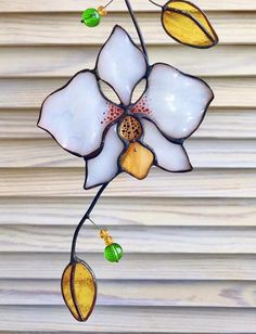 Flower Orchid Stained Glass Suncatcher window hangin easter birthday gift for mom friend sister colleague housewarming Flower Orchid Stained Glass Suncatcher window hangin easter image 3