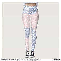 Hand drawn modern pink rose blue mandala floral leggings
