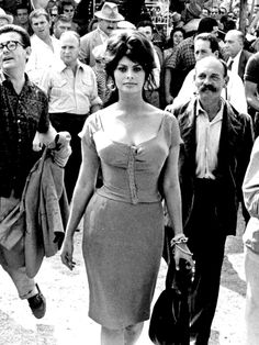 Sophia Loren on the set of Boccaccio '70, 1962. S)   'Beauty is how you feel inside, and it reflects in your eyes. It is not something physical.'