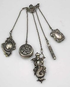 Rare Kerr Sterling Silver Chatelaine, 1890. A complete American sterling silver chatelaine by William Kerr of Newark, New Jersey.