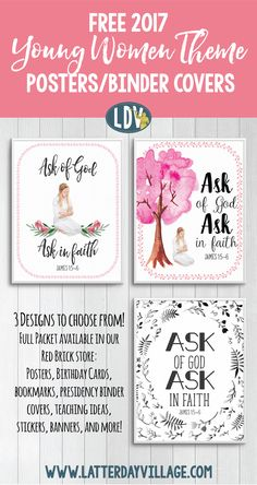 Free 2017 Young Women Yearly Posters and Binder Covers! www.LatterDayVillage.com