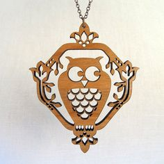 """3"""" Whimsical Owl Necklace - Cherry Wood Laminate - Laser Cut Necklace"""