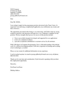 cover letter job application template