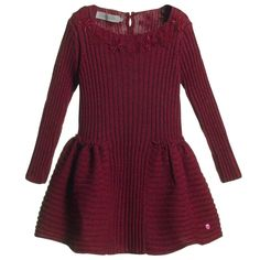 Dior Red Knitted Dress with Lace  at Childrensalon.com