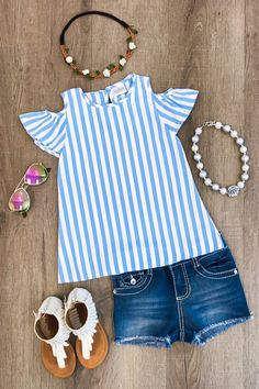 Blue & White Stripe Open Shoulder Shirt - March 02 2019 at Baby Outfits, Outfits Niños, Little Girl Outfits, Little Girl Fashion, Toddler Girl Style, Toddler Girl Outfits, Toddler Fashion, Kids Fashion, Baby Style