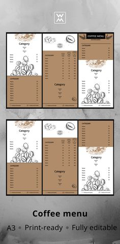 Menu design Coffee Shop Menu, Coffee Logo, Menu Template, Templates, Menu Design, Cafe Logo, Cafe Menu, Stencils, Vorlage