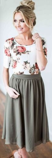 Floral top and green midi skirt.