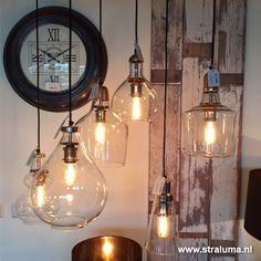 Glazen hanglamp koper Sage hal-keuken - www.straluma.nl