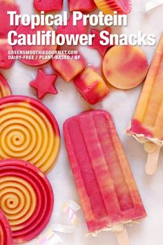 fiber fruits Tropical Protein Cauliflower Snacks Tropical protein cauliflower snacks are a frosty treat, perfect for grabbing after a sweaty workout. High in protein and fiber, fruit-swee Easy No Bake Desserts, Vegan Dessert Recipes, Desert Recipes, Healthy Desserts, Easter Desserts, Birthday Desserts, High Protein Snacks, Healthy Protein, Keto Fruit
