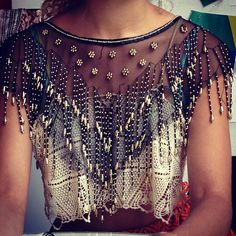 I agree with Stacy (where I found this top). Crochet, chiffon and beading are an amazing combination.
