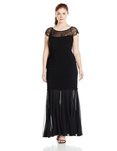 Xscape Women's Plus-Size Long Bead Illusion Top with Ity Shutter
