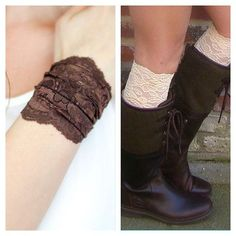 Adding a little lace to your outfit our lace boot cuffs are available in 7 colors and so versatile. Worn straight or scrunched up as boot cuff or lace wrist bracelet #bootcuffs #lace #lacebracelet #newcollection #mintvalley #boho #bohostyle