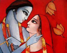 ART : Krishna With She - Artist Sekhar Roy @ Fine Art America