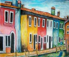Cityscape of Beautiful  and Brightly Painted Island Canal Houses  in BuranoI,taly near Venice.This island is famous for its magnificent lace and the houses were painted in different colors years ago do that fishermen can see their homes from the sea and nearby lagoons.Click photo to see or purchase this original painting.This art was already featured on travel greeting cards.