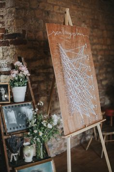 String Seating Plan & Vintage Step Ladder Decor - Married | Grace Elizabeth Photography | Katya Katya Shehurina Wedding Dress | Flower Crown | Boho Wedding | Outdoor Woodland Ceremony | The Tudor Barn, Warsop | Coffee Bar Camper Van