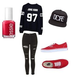 """What to wear for BTS concert"" by bts-jungkook-bts ❤ liked on Polyvore featuring moda, Topshop, Essie, Vans, women's clothing, women's fashion, women, female, woman e misses"