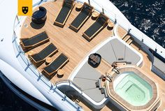 The most customized Amels Limited Editions to date, ENGELBERG has been designed to perfectly meet her Owner's needs. Advanced personal communications systems, a unique aft deck layout, and a charcoal grey hull with a hint of orange make this yacht a true original. She features a stunning interior design by Enzo Enea, who blended the Mediterranean environment into the yacht's interior décor. Engelberg, Jacuzzi, Bateau Yacht, Les Bahamas, Grand Luxe, Communication System, Interior Decorating, Interior Design, Deck