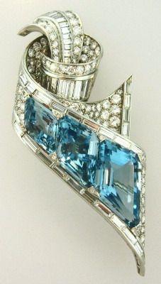 Fancy Emerald Cut Aquamarine and diamond brooch