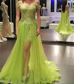 Beautiful Sweetheart Applique Slit A-Line Long Prom Dresses,