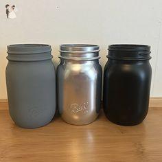 Hand Painted Grey Black & Silver 16oz Mason Jars Set of Three - Wedding table decor (*Amazon Partner-Link)