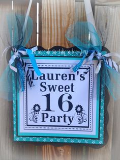 Welcome your party guests with a Darling Door Sign!    Sweet 16 Birthday Door Sign Tiffany Blue by Chocolatetulipdesign,