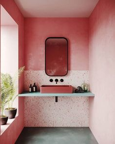 Terrazzo design is trending as one of the hottest interior design you'll be seeing everywhere. From terrazzo floor tiles, tables and lampshades to printed wallpaper, it's out there. Beautiful Bathrooms, Modern Bathroom, Small Bathroom, Minimalist Bathroom, Half Bathrooms, Retro Bathrooms, Minimalist Living, Minimalist Decor, Modern Minimalist