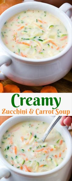 Creamy Zucchini and Carrot Soup Recipe from Hot Eats and Cool Reads! This easy and delicious soup is so perfect for lunch, dinner or freeze for later! Add leftover rotisserie chicken, bacon, cheese or Crock Pot Recipes, Gourmet Recipes, Vegetarian Recipes, Dinner Recipes, Cooking Recipes, Healthy Recipes, Summer Soup Recipes, Chicken Recipes, Beef Recipes